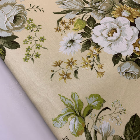 2.5m LEFT: Magnificent 'Madame' Sanderson cotton sateen large flowers on pale yellow FQ+