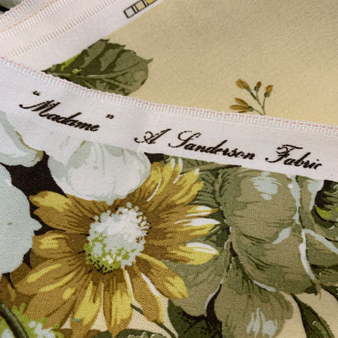 LAST PIECE: Magnificent 'Madame' Sanderson cotton sateen large flowers on pale yellow