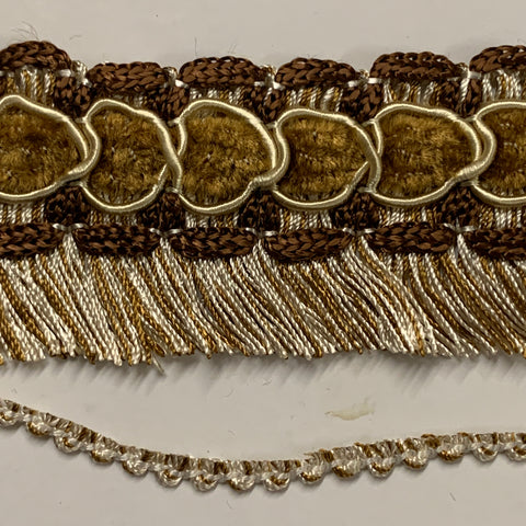 5m LEFT: Pure retro hippie 1970s braided trim with fringe brown with white 4cm high 1/2m+