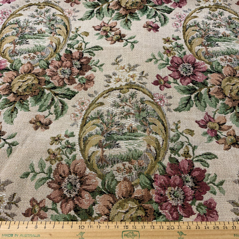 LESS THAN 2.5m LEFT: 1980s? Heavy woven upholstery with time worn style pattern of flowers and cameos FQ+