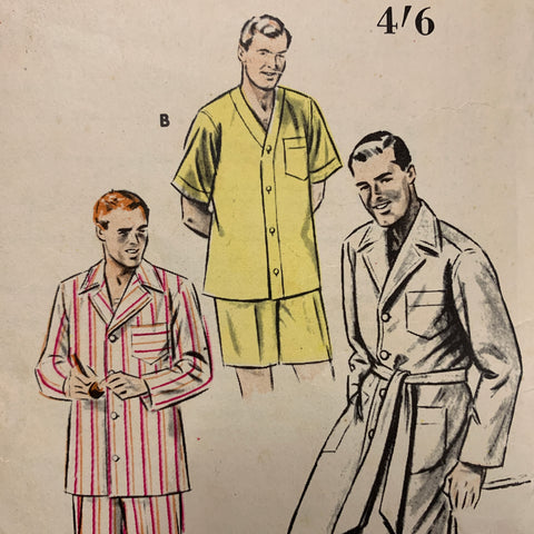 "SIZE SMALL PAJAMAS: Butterick circa 1952 chest 34""- 38"" *6317"