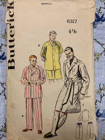 Butterick circa 1952 mens pajamas sewing pattern size small complete *6317