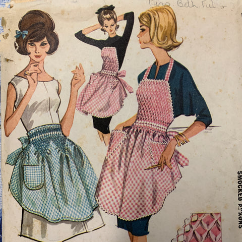 APRONS: McCall's vintage 1962 full or half smocked apron *6664