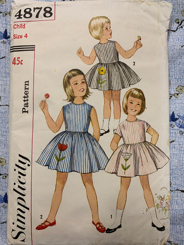 ONE-PIECE DRESS: Simplicity size 4 childs dress w transfer 1960s *4878