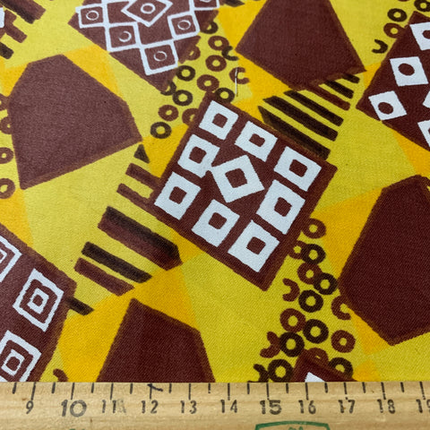 Fab kitsch abstract chocolate brown gold polished cotton 80s? FQ+