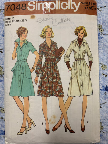 "SHIRT DRESS: Simplicity 1975 bust 38"" *7048"