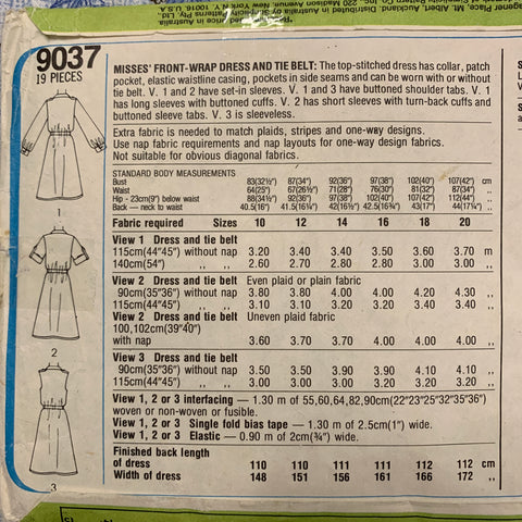 Simplicity 1979 shirt dress wrap with tie size 20 bust 107cm *9037