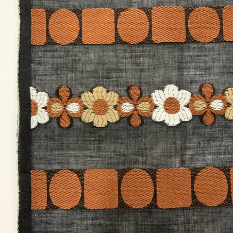 LAST PIECE: Pure mod! 60s? chocolate, coffee and white flowers woven cotton HM+
