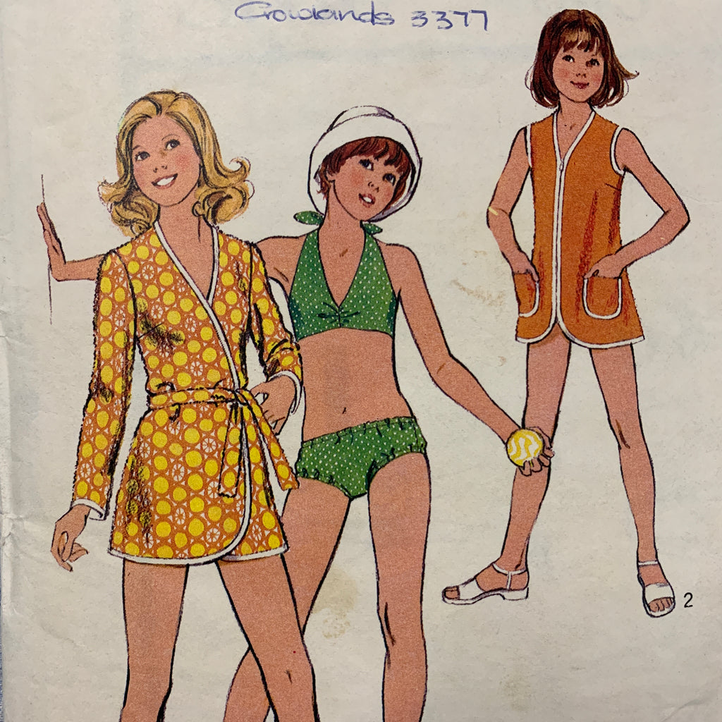 Size 12 girls womens bikini beach robe 1974 sewing pattern *4643
