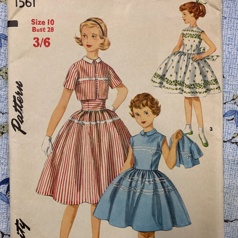 Size 10 girls one-piece dress jacket 1950s factory folded sewing pattern *1561