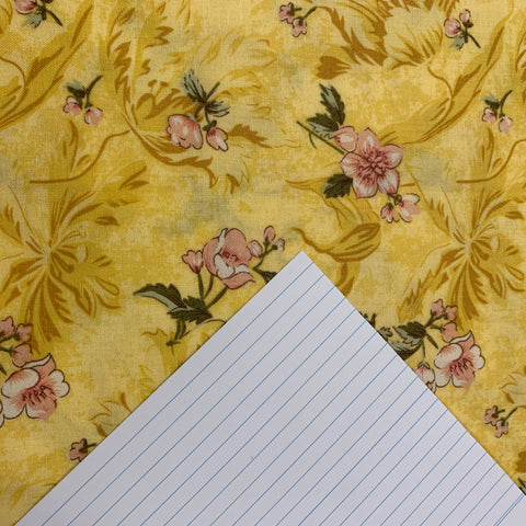 LESS THAN 2m LEFT: Modern quilt cotton with yellow base and pretty pink flowers FQ+