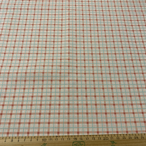 LESS THAN 1m LEFT: Modern quilt cotton salmon sky bluecheck 2004 Quilters Classic Cottons
