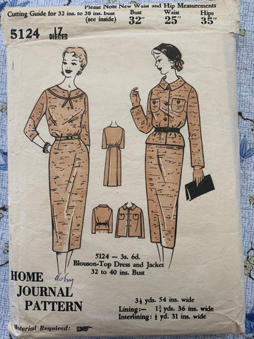 "BLOUSON-TOP, DRESS & JACKET: Home Journal 1950s  bust 32"" *5124"