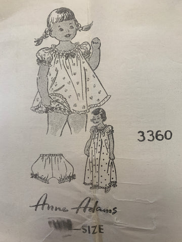 NIGHTGOWN, SHORTIES & BLOOMERS: Anne Adams mail order 1962 *3360