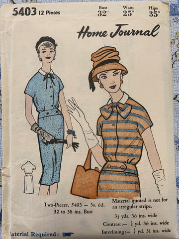 "TWO-PIECER DRESS: Home Journal 1960s bust 32"" *5403"