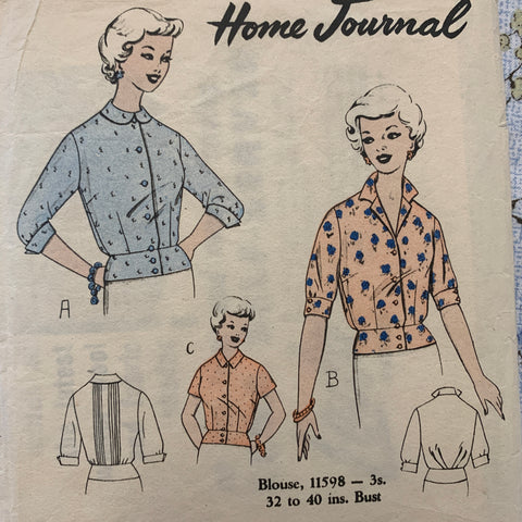 "BLOUSE: Home Journal 1960s bust 32"" *11598"