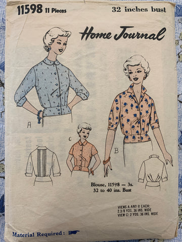"Home Journal 1960s blouse bust 32"" *11598"