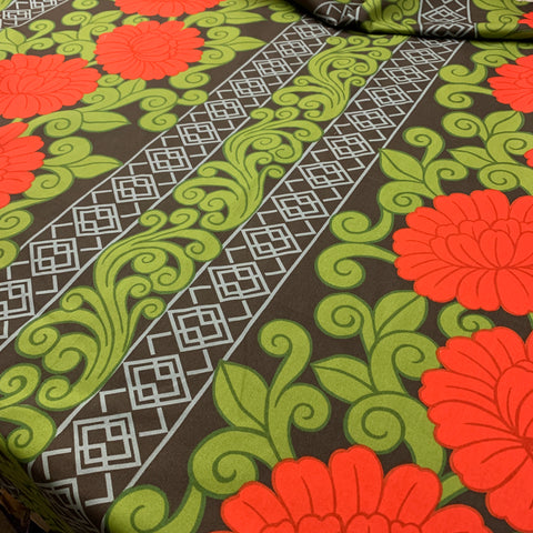 6m LEFT: Sublime red on black? 70s early 80s Shanghai drapery cotton