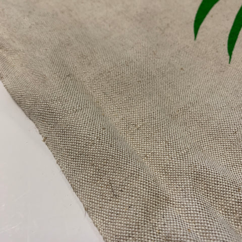 3m LEFT: Large scale green fern on unbleached cotton 1970s 80s upholstery heavy drapery FQ+