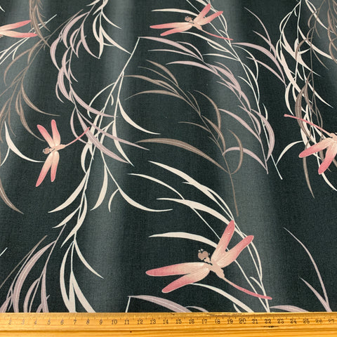 2m LEFT: Novelty dragonflies on mottled black base made in Japan cotton
