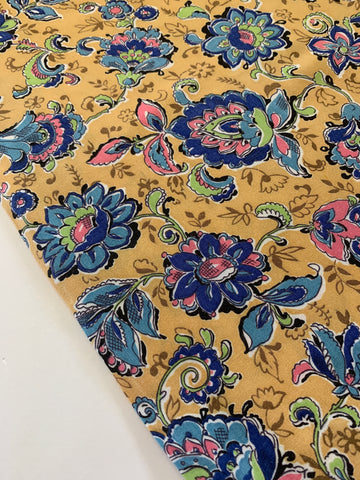 1/2m LEFT: Bright blues & pink floral on pale mustard 1940s dress cotton