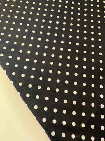 1.2m LEFT: Classic jet black with white polka dot 70s polished cotton