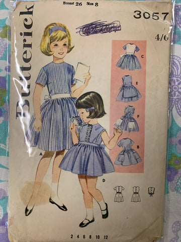 DRESS: Butterick sz 8 girls buttoned dress full skirt 1960s *3057