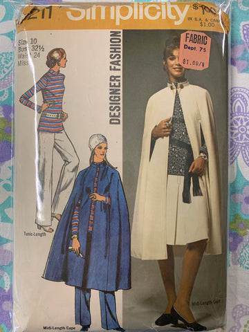 MIDI-CAPE, SKIRT, TUNIC & PANTS: Mod 1970s ladies size 10 *9211