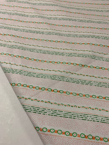 LESS THAN 2m LEFT: 1970s 80s unused cotton sheeting w tiny retro flowers dots lines