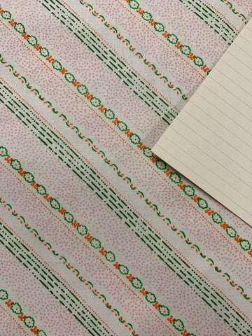 2m LEFT: 1970s 80s unused cotton sheeting w tiny retro flowers dots lines