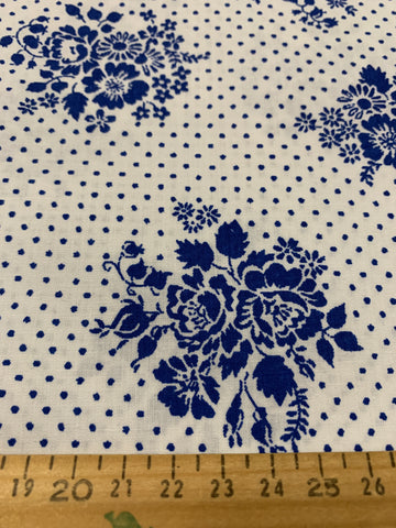 2m LEFT: 1980s Burlington cotton blend unused sheeting Dimity Garden