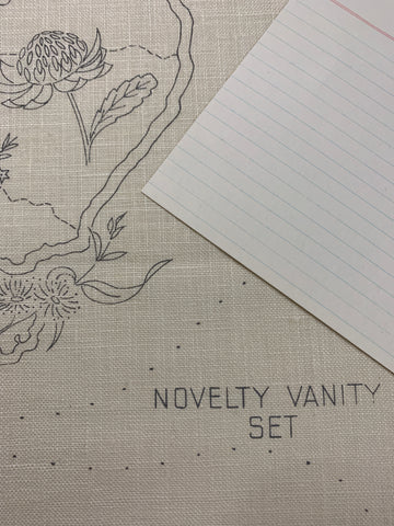 Unworked stamped 1950s? 60s Australiana linen novelty vanity set wildflowers