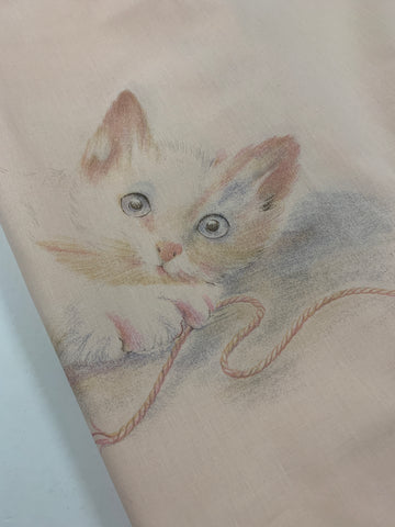TWO AVAILABLE: 1980s pink ruffled pillow case with cat playing with ball of string