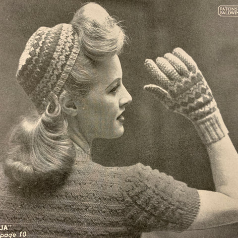 1950s Patons No 266 knitting hats gloves scarves caplets