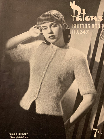 1940s-50s Patons No 247 knitting boleros berets scarf jumpers gloves cardigan