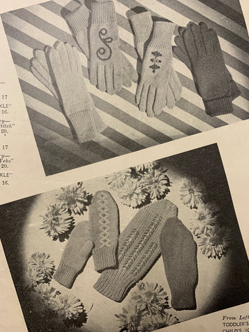 1940s-50s Patons No 232 knitting ladies gloves, mittens & hats