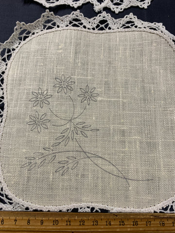 Partially worked stamped 1960s? duchess set flowers with leaves on linen