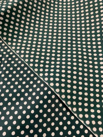 1.5m LEFT: Vintage 1970s deep green w spot polished cotton border print