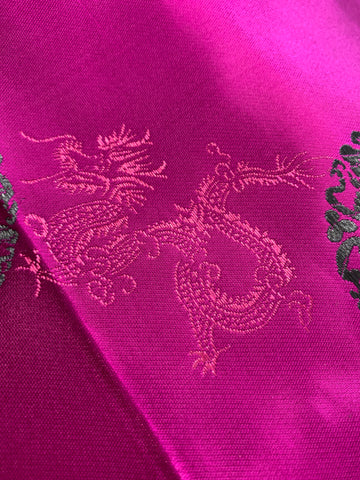 1/2m LEFT: Modern Chinese satin brocade w dragon and circle pattern