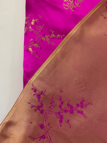 1.5m LEFT: Modern Chinese satin brocade w blossom leaves & stamps