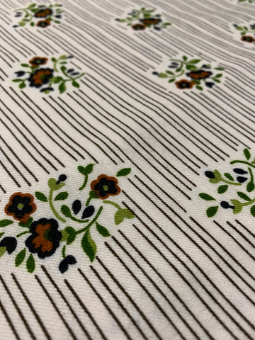 LAST PIECE: Vintage 1970s brushed cotton twill w/ stripe and floral cluster