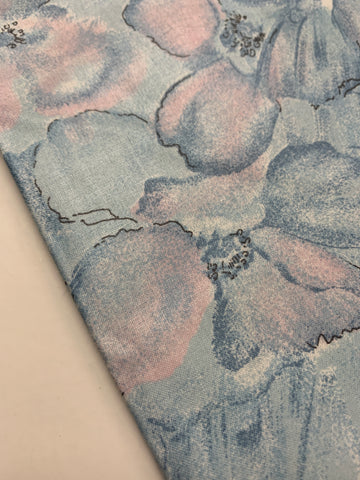 2m LEFT: Vintage 1980s cotton chintz drapery w mottled blue landscape