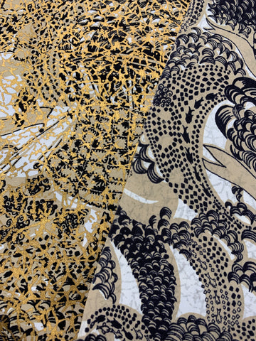 2m LEFT: Unique mid-century 1950s rayon nylon w/ gold print and boat design