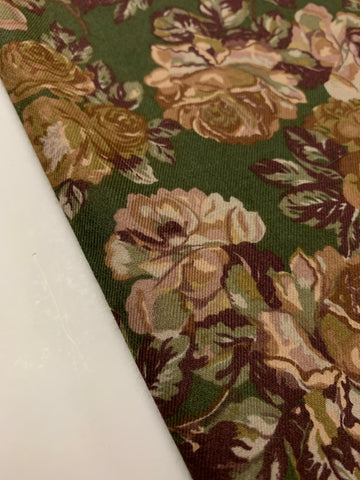 3.5m LEFT: Modern soft cotton blend w/ dark muted green floral
