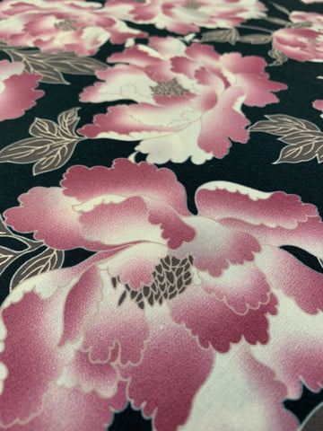 2m LEFT: Bright pink floral on black base quilt cotton made in Japan
