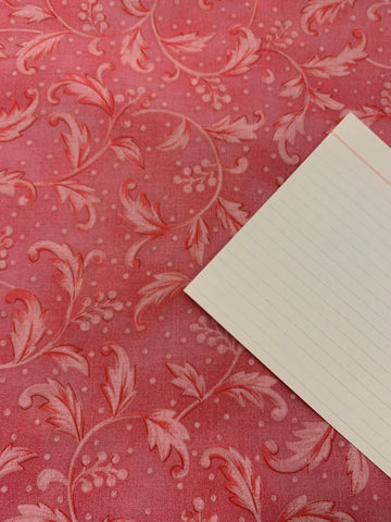 2m LEFT: Extra wide 250cm quilt backing cotton pink ornate leaves & berries