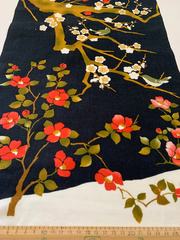 ONE ONLY: Modern light weight cotton Oriental blossom panel black base