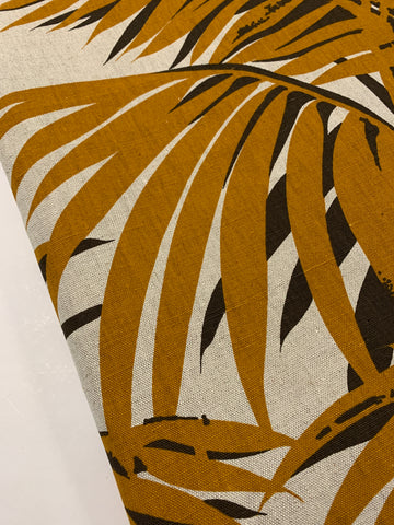 3m LEFT: Large scale brown fern on unbleached cotton 1970s 80s upholstery heavy drapery FQ+