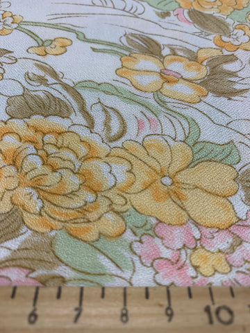 2.5m LEFT: vintage 1960s 70s cotton w/ light crepe texture pastel colours