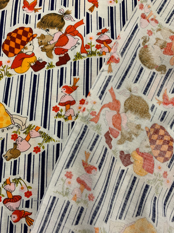 LESS THAN 3m LEFT: 90s? vintage style girls at play w/ birds and mushrooms blue stripes